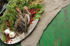 Volailles sauvages de chasse dans la cuisson Mensonge du coup de feu deux ou de la bécasse des bois sur le plat en métal Chasse d image stock