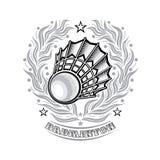 Volanchic au centre de la guirlande argentée de laurier sur le fond clair Logo de sport pour toute équipe de badminton illustration libre de droits