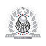 Volanchic au centre de la guirlande argentée de laurier sur le fond clair Logo de sport pour toute équipe de badminton illustration de vecteur