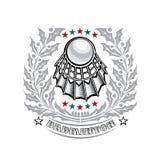 Volanchic au centre de la guirlande sainte de laurier argenté sur le fond clair Logo de sport pour toute équipe de badminton illustration stock
