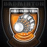 Volanchic au centre du bouclier Logo de sport pour toute équipe de badminton illustration libre de droits