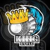 Volanchic avec la couronne et la traînée bleue de vent Logo de sport pour toute équipe de badminton illustration libre de droits