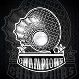 Volanchic avec la raquette au centre Logo de sport pour toute équipe de badminton illustration libre de droits