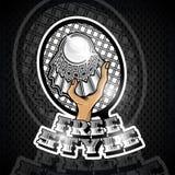 Volanchic avec la raquette en centre et texte libre de style Logo de sport pour toute équipe de badminton illustration stock