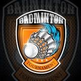 Volanchic avec la traînée de vent au centre du bouclier Logo de sport pour toute équipe de badminton illustration de vecteur