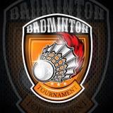 Volanchic avec la traînée du feu au centre du bouclier Logo de sport pour toute équipe de badminton illustration stock