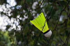 Shuttlecock with a white tip and a light green shank on the gaming, fenced net, site.  stock photography