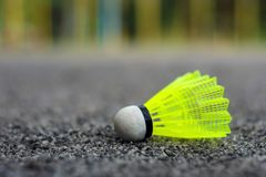 Shuttlecock with a white tip and a light green shank on the gaming, fenced net, site.  royalty free stock photo