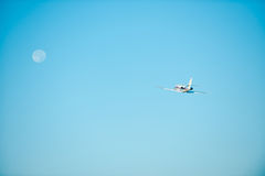 Volando alla luna Immagini Stock