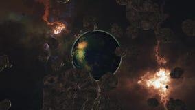 Volando de un planeta similar a la tierra a través de los asteroides, otra tierra almacen de metraje de vídeo