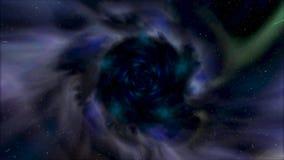 Volando indietro in bello tunnel della galassia con la polvere dello spazio, concetto di viaggio di tempo animazione Imbuto giran illustrazione vettoriale