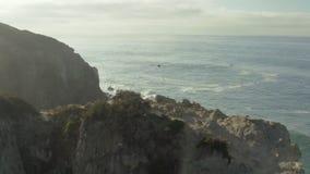 Volando intorno ad una scogliera sulla spiaggia archivi video