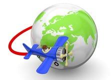 Volando intorno al concetto del mondo - 3D Fotografie Stock