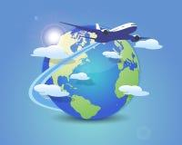 Volando intorno al mondo Immagini Stock
