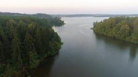 Volando sopra il lago nebbioso nelle prime ore del mattino video d archivio