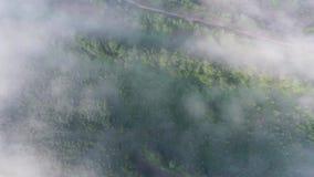 Volando sopra il landcape con foschia stock footage