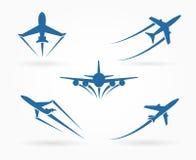 Volando sulle icone dell'aeroplano Immagini Stock Libere da Diritti