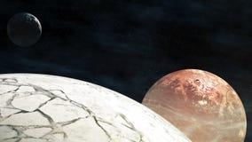 Volando a través de campos de estrella en espacio cerca de los planetas con los asteroides ilustración del vector