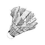 Volano con lo schizzo disegnato a mano di volano delle piume nelle linee nere Fotografia Stock