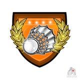 Volant avec la guirlande de laurier d'or au centre du bouclier d'isolement sur le blanc Logo de sport pour toute équipe ou champi illustration stock