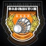 Volant avec la guirlande de laurier d'or au centre du bouclier Logo de sport pour toute équipe de badminton illustration stock