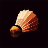 Volant de badminton ou boule de badminton d'or dans le style polygonal Photos libres de droits