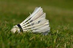 Volant de badminton sur l'herbe Photographie stock