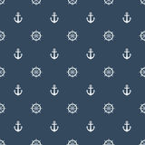Volant de bateau avec le modèle d'ancre sur le fond de bleu marine Illustration Libre de Droits