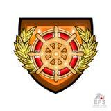 Volant en bois avec la bouée de sauvetage au milieu de la guirlande d'or de laurier sur le bouclier Logo de sport pour tout te de illustration de vecteur