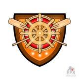 Volant en bois avec la bouée de sauvetage et avirons croisés au milieu de guirlande d'or de laurier sur le bouclier Logo de sport illustration libre de droits