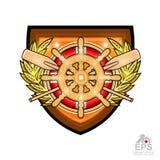 Volant en bois avec la bouée de sauvetage et avirons croisés au milieu de guirlande d'or de laurier sur le bouclier Logo de sport illustration de vecteur