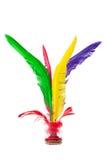 Volante de retroceso con el pie de Jianzi del chino colorido de la pluma Fotos de archivo libres de regalías