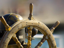 Volante del barco Imágenes de archivo libres de regalías