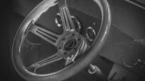 Volante del coche con las fibras de la araña foto de archivo