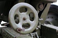 volante del hierro para la vista del tiro del cañón imagen de archivo