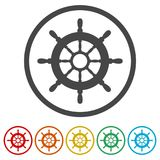 Volante della nave, ruota della nave, 6 colori inclusi illustrazione di stock