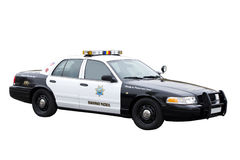 Volante della polizia della pattuglia della strada principale isolato su bianco Immagini Stock