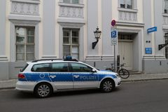 Volante della polizia della polizia tedesca a Potsdam Fotografia Stock Libera da Diritti