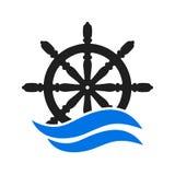 Volante do leme do navio e do barco, barco e ícone marítimo do leme, volantes do navio - vetor ilustração stock
