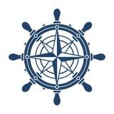 Volante e simbolo rosa di navigazione dei conpass Fotografia Stock
