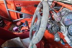 Volante, vecchio interno del camion rovinato Fotografia Stock Libera da Diritti