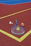 Volantes del bádminton y Racket-4 fotografía de archivo libre de regalías