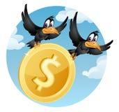 Volar cuervos lleva el símbolo del dólar americano Fotos de archivo libres de regalías
