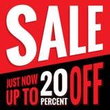 volar Den röda teckenuppsättningen för 2 Sale och svärtar den 20 procent överskriftdesignen för Fotografering för Bildbyråer