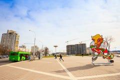 Volat, la mascotte ufficiale del campionato del mondo di 2014 IIHF, Fotografie Stock