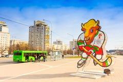 Volat, a mascote oficial do campeonato mundial de 2014 IIHF, Fotos de Stock Royalty Free