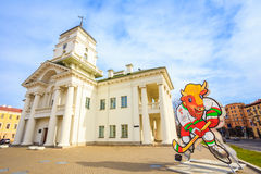 Volat, the official mascot of the 2014 IIHF World Championship i Royalty Free Stock Images