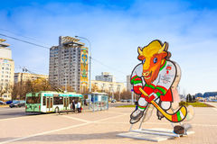 Volat, the official mascot of the 2014 IIHF World Championship, Stock Photo