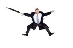 Volata dell'uomo d'affari felice Fotografia Stock Libera da Diritti