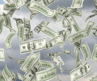Volata delle banconote in dollari Fotografie Stock Libere da Diritti
